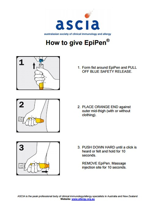 Instructions on how to give an EpiPen when someone is having an allergic reaction.