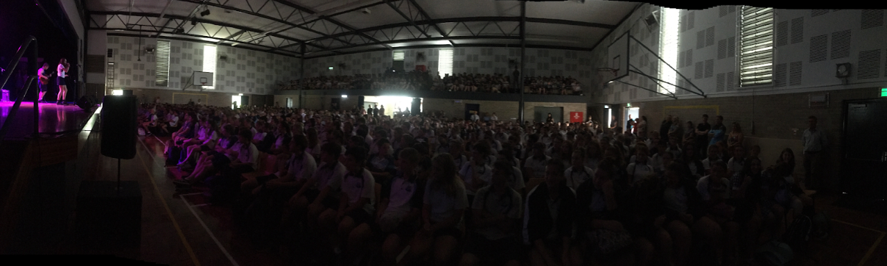 a wide shot of the Nowra high school hall during a performance